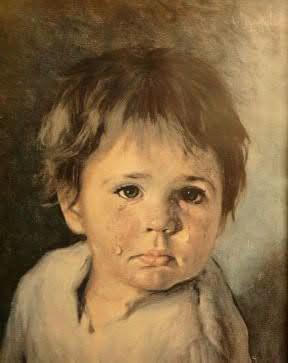 泣く少年の絵